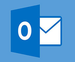 Logo do email Outlook branco com azul