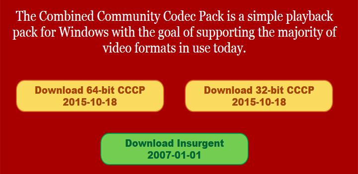 Pacote de Codecs de Vídeo CCCP