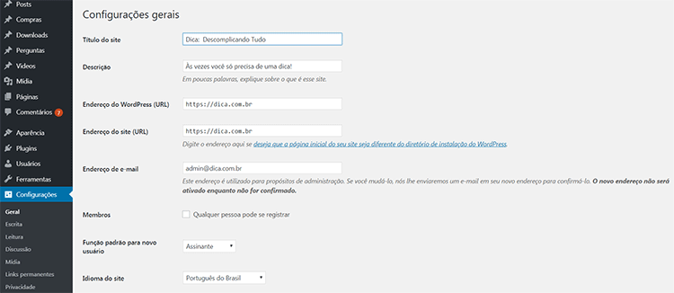 Painel de controle WordPress