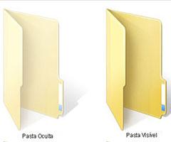 Ícone de uma pasta oculta e uma pasta visível