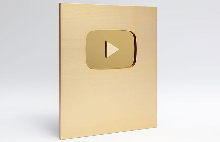 Placas do Youtube de ouro