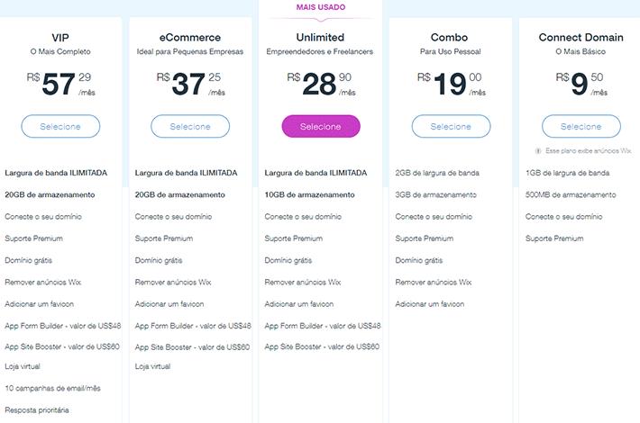 Planos e preços para criar site no Wix.com