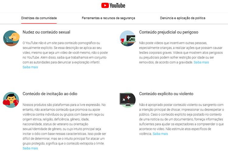 Política de privacidade do Youtube