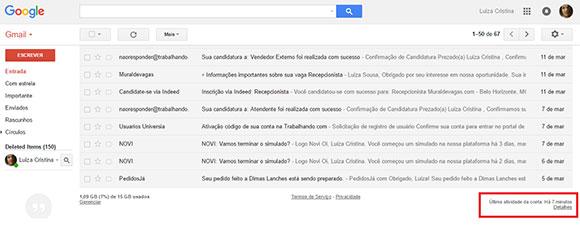 saber quem entrou email gmail