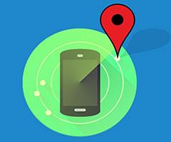Rastrear celular Android fundo azul