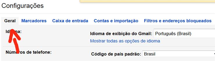 Página para habilitar resposta automática de férias do Gmail
