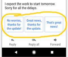 Imagem mostrando o recurso resposta inteligente do Gmail