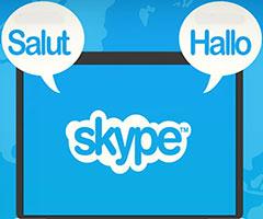 Logo do Skype em uma tela de download do computador