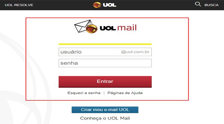 Uol Mail Entrar Formulário