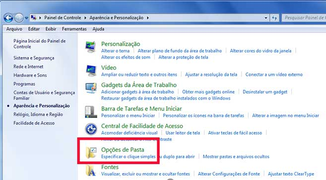 Como visualizar pastas ocultas Windows 7 tela