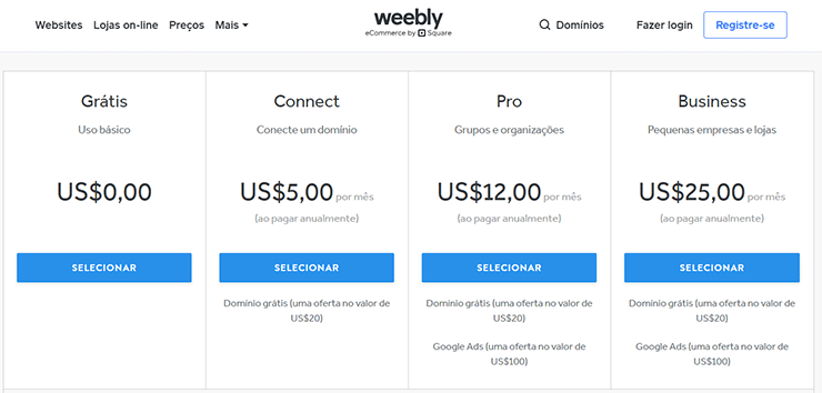 Preço construtor Weebly