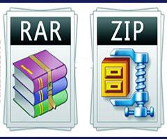 Descompactadores de arquivo Zip e Rar